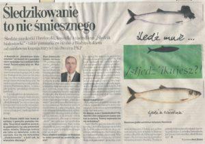 Zdjęcie przedstawia skan artykułu z Gazety Wyborczej, w którym socjolog prof. Andrzej Sadowski odpowiada na pytanie czy białostoczanie wstydzą się śledzikowania i dlaczego