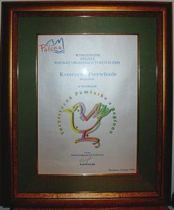 Zdjęcie przedstawia wyróżnienie dla Katarzyny Pierwienis w konkursie POT oprawione masywną w drewnianą ramę